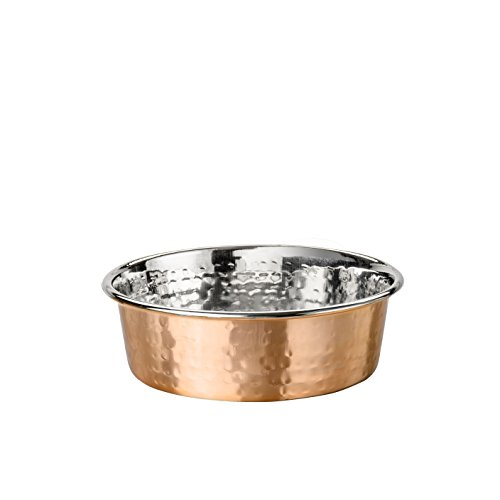 NEATER PET BRANDS Hammered Copper Finish Pet Bowls - Deluxe Luxury Style Dog and Cat Dish (Small)