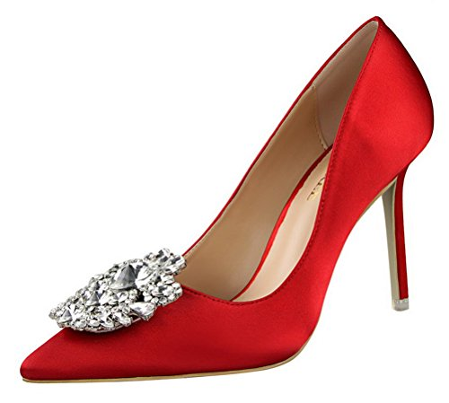 Passionow Women's Elegant Pointed Toe Buckle Rhinestones Stiletto High Heel Satin Dressy Dress Pumps (7 B(M) US,Red)