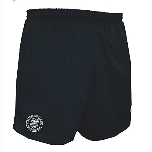 New Logo USSF Coolwick Mondial Black Referee Shorts (Adult Large)