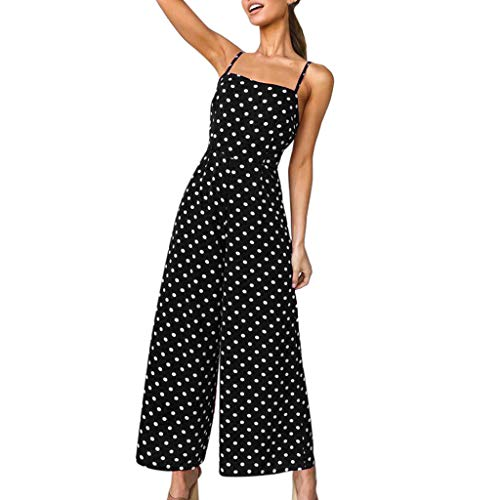 Womens Wide Leg Pants, Polka Dot Backless Strappy Playsuit Ladies Sexy Elegant Holiday Long Jumpsuit ❤️Sumeimiya Black