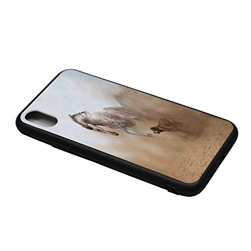 Horses Printing Compatible with iPhone X Case,Lusitanian Horse Playing with Dog in Sand Storm Wild Fast Companion Friendship for iPhone X Case,iPhone X