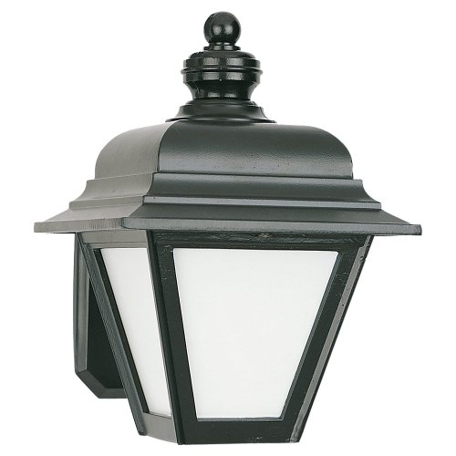 - Sea Gull Lighting 8972BLE-12 Bancroft - One Light Outdoor Wall Mount, Black Finish with Opal Glass