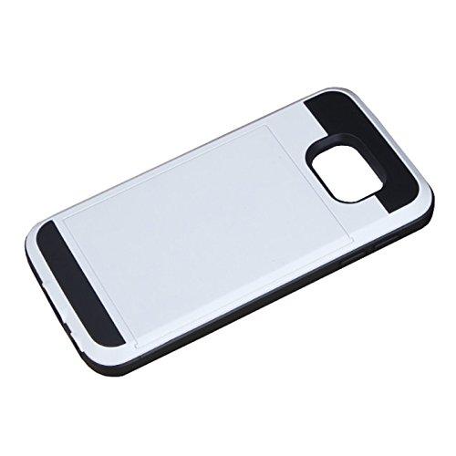 Telefon-Kasten - SODIAL(R)Karte Tasche Stossfeste Duenne Hybrid Mappe Abdeckung fuer Samsung Galaxy S7 Edge Weiss