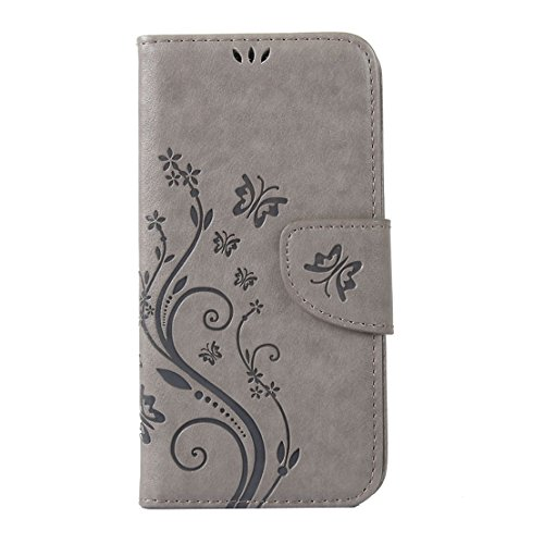 RanRou Apple iPhone SE/5S/5 Leather Case [Butterfly Flower Pattern],iphone 6s Flip PU Leather Wallet Card Slot Stand Case Cover For iPhone SE/5S/5 inch-gray