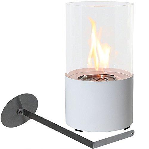 Sunnydaze Decor Fiammata Ventless Tabletop Bio Ethanol Fireplace, White (White Open Glass Cylinder)