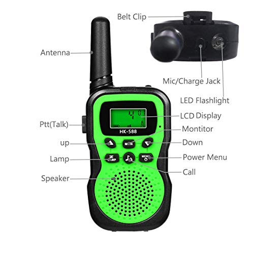 Best Gifts for Kid, JRD&BS WINL Toys Walkie Talkies for Kid,Fun Toys for 4-5 Year Old Boys,Kid Toys for 6-10 Year Old Travel Hunting,HK-588 1 Pair(Green) by JRD&BS WINL (Image #3)