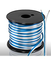 50ft 18 Gauge Speaker Wire - Waterproof Marine Grade Cable in Spool for Connecting Audio Stereo to Amplifier, Surround Sound System, TV Home Theater and Car Stereo - PLMRSW50