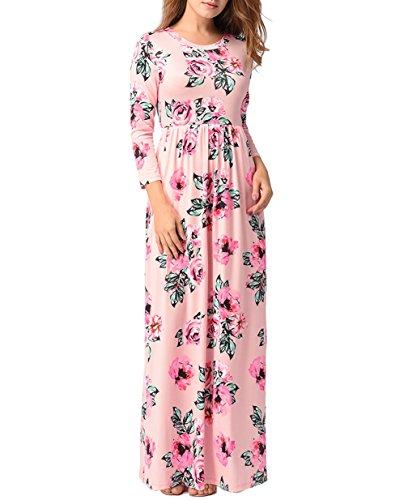 3 lungo spiaggia lunghe Vestito maniche in seta da Maxi a di donne 4 O stampa floreale partito Rosa da da delle Collo 5EqPqwvZ