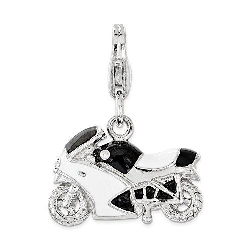 14k Gold Motorcycle (Q Gold Jewelry Pendants & Charms Themed Charms Sterling Silver Enameled with Swarovski 3D Motorcycle Lobster Clasp Charm)