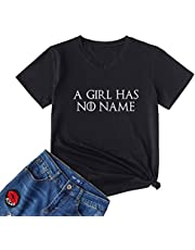 YEVEEY Womens A Girl Has No Name T Shirts Thrones TV Show Gamer Game V-Neck Tee