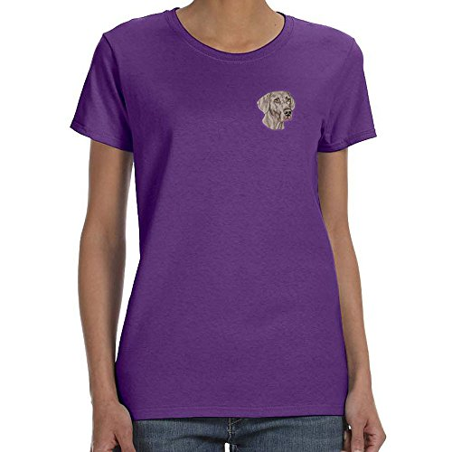 Breed Weimaraner T-shirt - Cherrybrook Dog Breed Embroidered Womens T-Shirts - X-Large - Purple - Weimaraner