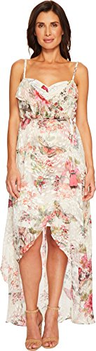 Hale Bob Women's Petal Pusher Satin Burnout Wrap Dress Ivory Small (Petal Dress Tulip)