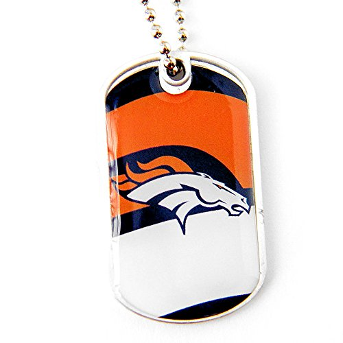 aminco NFL Denver Broncos Team Logo Dynamic Dog Tag Necklace Charm Chain