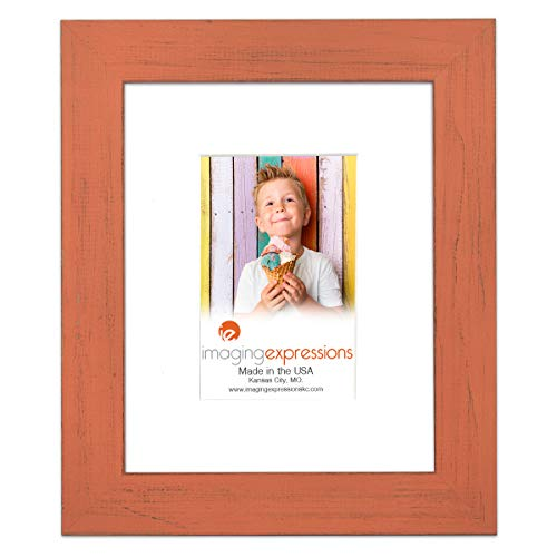 Country Colors Rustic Farmhouse Orange Picture Frame 8x10 with Distressed Barn Wood Finish, 4x6 Mat Included, Art or Portrait Photo, Wall or Tabletop Easel Back Display