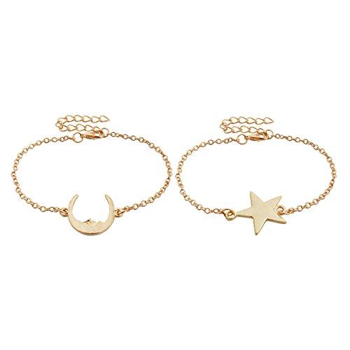 Jane Stone Fashion Mens Women Moon Star Charm Couple Relationship Bangle Bracelets Personalized Friendship Bracelet Kit Hip Featuring Jewelry 2 Pcs Gold (Costumes For 2 Friends)
