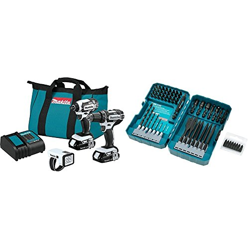 Makita CT322W 18V LXT Lithium-Ion Compact Cordless 3-Pc. Combo Kit (1.5Ah) with T-01725 Contractor-Grade Bit Set, 70-Pc.