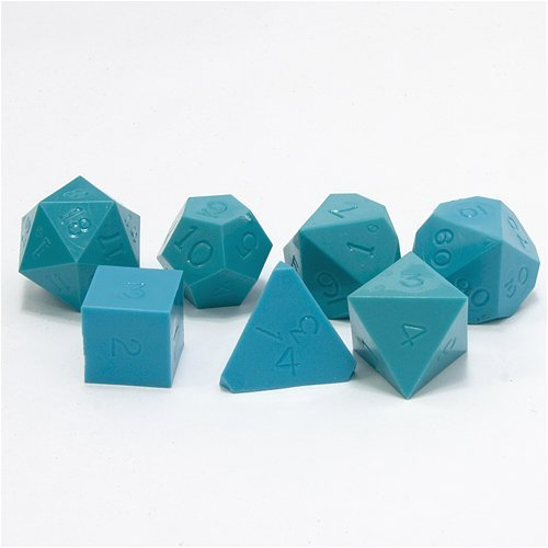 GameScience: Polyhedral 7-Die Set - Opaque Un-Inked Precision Dice - Turquoise Blue