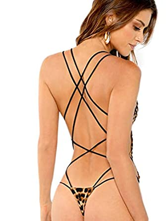 HUILAN Womens Scoop Neck Strappy Backless Bodysuit