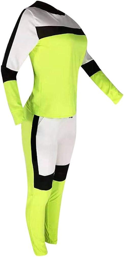 junkai Set Abbigliamento 2PCS Tuta Fonna Patchwork Cappuccio Felpe Felpa Pantaloni Lunghi Abiti Casual Abbigliamento Sportivo