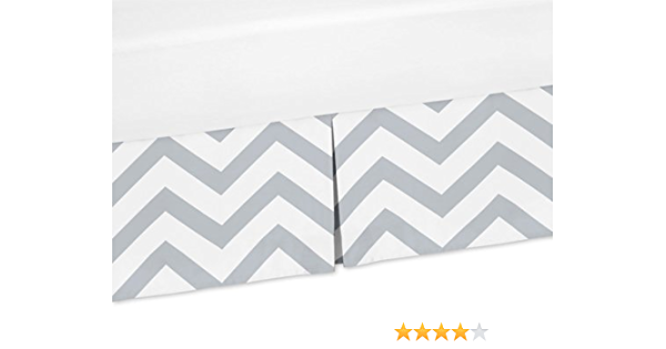 Amazon Com Sweet Jojo Designs Grey And White Zig Zag Crib Bed Skirt Dust Ruffle For Chevron Collection Bedding Sets Baby