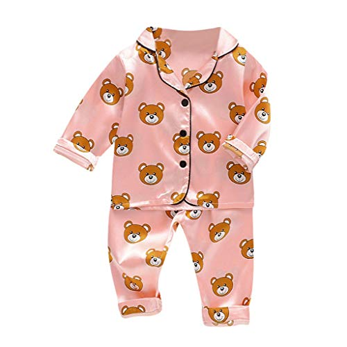 Mayunn 2-Pieces Toddler Baby Boys Girls Cotton Bear Tops+Pants Pajamas Sleepwear Outfits Sets Clothes (12Months-5Years) (The Boy In The Striped Pyjamas Out With)
