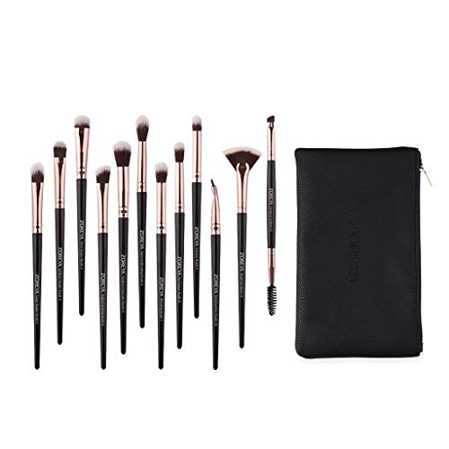 12 Pieces Makeup Brush Set Professional Face Eye Shadow Eyeliner Foundation Blush Lip Makeup Brushes Powder Liquid Cream Cosmetics Blending Brush Tool With Leather Clutch Bag (A)