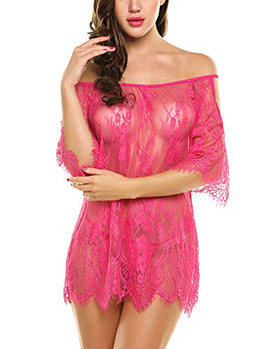 (Avidlove Lace Smock Lingerie Mini Babydoll Women Chemises Eyelash(Rose red,M))