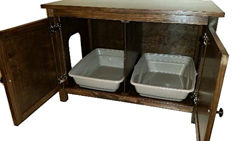 (Furever Pet Furniture Odor Free, Custom, Hand Made in USA, Wood Cat Litter Box Cabinet with Hinged Lid for easy access. Flat Panels. No Assembly Needed. Not Mdf (Dark)