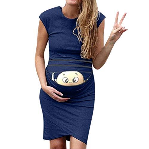Soirée Sans D'été Maman Femme Marine Vêtements De Casual Grossesse Manches Maternité Gilet Chic Mode Robe Robes Crayon Manche Slim Nouveau Imprimée Etendue BY4xT6