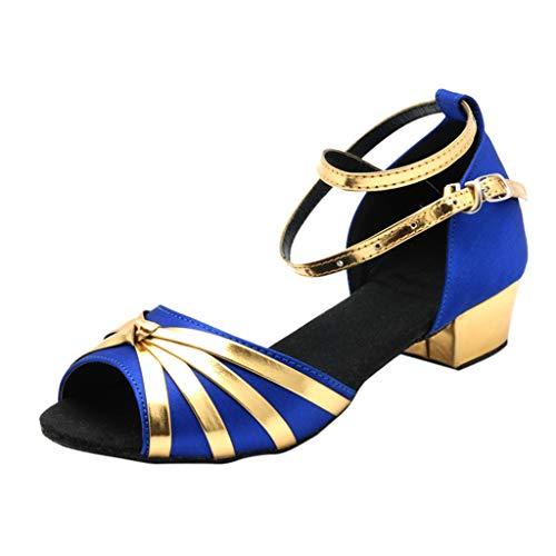 Xinantime Women's Latin Dance Tango Shoes Summer Low-Heeled Cross Belt Buckle Shoes Princess Shoes Blue