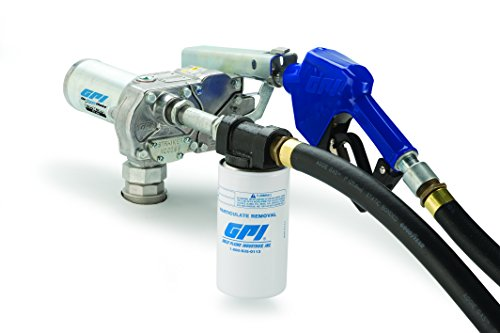 GPI 110612-02, M-180S-AU/Filter Aluminum Fuel Transfer Pump, 10 Micron Filter, 18 GPM, 12-VDC, 0.75-Inch Automatic Unleaded Nozzle, 1-Inch x 12-Foot Hose, Adapter, 18-Foot Power Cord & Suction Pipe