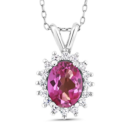Gem Stone King Oval Pink Mystic Topaz 925 Sterling Silver Pendant 1.74 Cttw With 18 Inch Chain ()