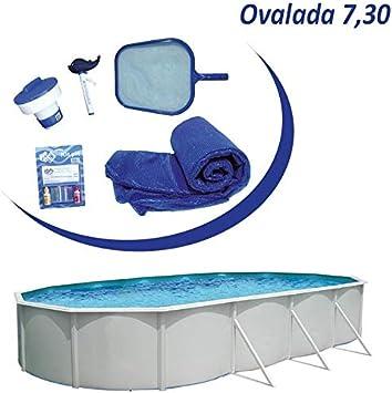 Piscina desmontable acero Mallorca ovalada de 7,3x3,66m (Kit ...