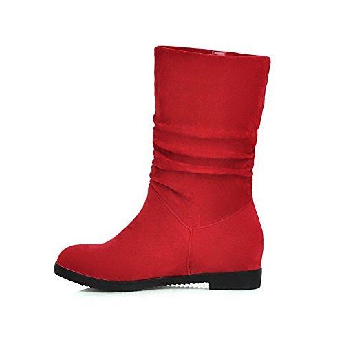 AllhqFashion Mujeres Sin cordones Puntera Redonda Mini Tacón Gamuza(Imitado) Caña Baja Botas Rojo