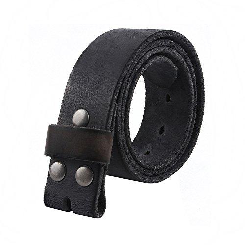 NPET Men's Genuine Full Grain Leather Belt Casual Soft Vintage Leather Belt (Soft Leather Buckle Belt)