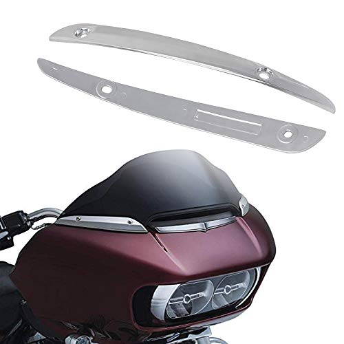 NTHREEAUTO Chrome Windshield Trim Motorcycle Left Right Side Windscreen Decorate Trim Rings Compatible with Harley Davidson Road Glide 2016 Ultra FLTRU 2015-2017 FLTRX FLTRXS 2016 FLTRUSE (1 Pair)