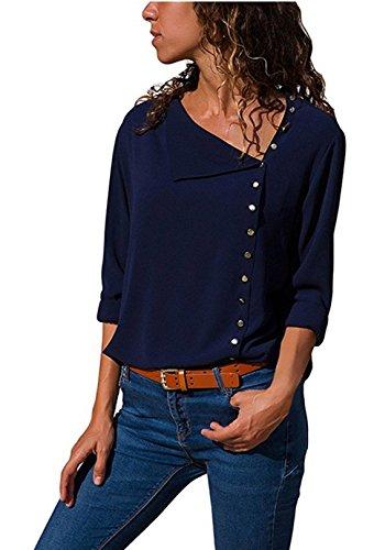 T Bouton Tops Mousseline de Chic V Fonc Neck en Shirt Chemise Soie Longues ZIYYOOHY Irrgulire Bleu Femme Manches des Chemise 0qSt4