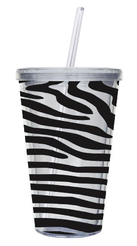 Cypress Home 17-Ounce Insulated Cup With Lid and Straw, Zebra