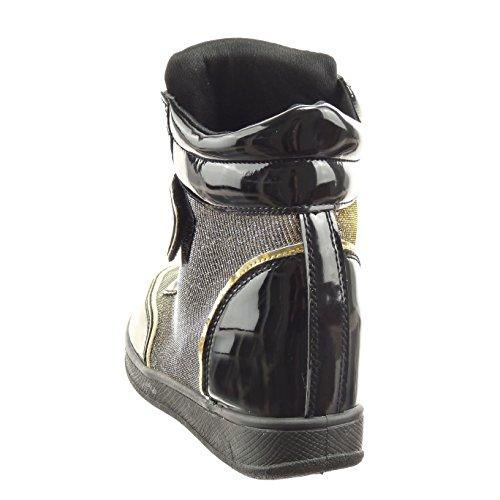 Sopily - Zapatillas de Moda altas Tobillo mujer brillante Hebilla patentes Talón Plataforma 6.5 CM - Negro