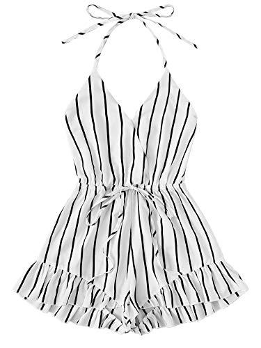 SweatyRocks Women's Sexy Halter V Neck Backless Striped Print Short Romper Jumpsuit White X-Large