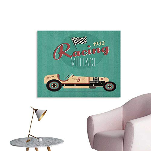 (Cars Photographic Wallpaper Poster Print of a Classic Vintage Automobile Nostalgia Rally Antique Machine The Office Poster Teal Ruby Cream W36 xL24)