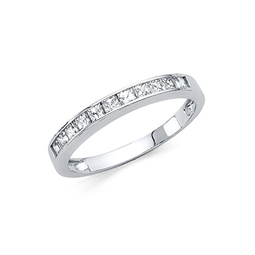 Size 5.5 - 2mm Solid 14K White Gold Princess Cut Channel Invisible Set Wedding Band Ring (0.75 cttw.)