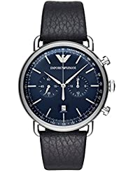 Emporio Armani Mens Dress Quartz Stainless Steel and Leather Casual Watch, Color:Blue (Model: AR11105)