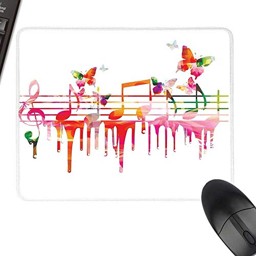 Music Decor Gaming Mousepad Colorful Artwork Music Notes Clef Composer Orchestra Decorative Classic with Stitched Edges 11.8