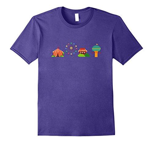 [Mens Carnival Circus Emoticon Shirt Tents Tshirt Ferris wheel Tee 2XL Purple] (Carnie Costume Ideas)