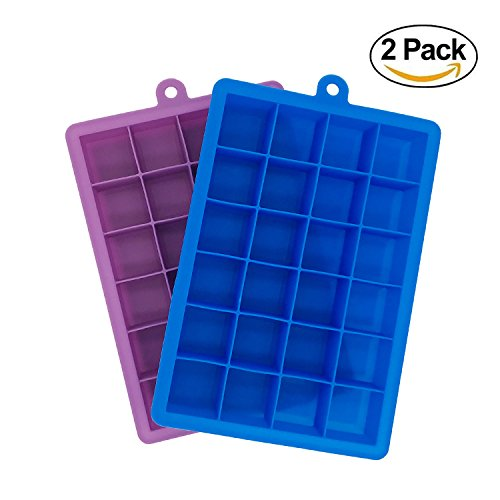 Docik Silicone Ice Cube Trays, 24 Cubes Per Ice Tray, Flexible 24 Cavity Mold for Ice, Candy, Chocolate and More, Pack of - Flexible Mold Silicone