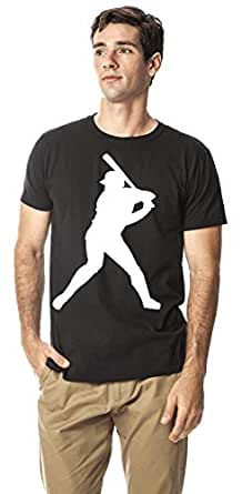 Baseball sports cotton round neck tshirt, Black S