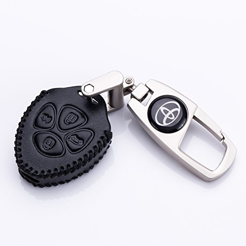 QZS Toyota Key Chain Fob Cover Shell Remote Case Bag Buttons Remote Fob Skin Leather Cover Key Case Holder Bag for Toyota Camry Avalon Matrix Corolla Land Cruiser(Toyota-1 Black) -