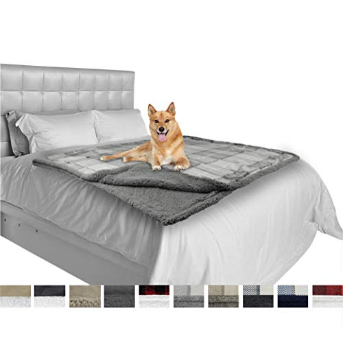 PetAmi Deluxe Dog Blanket for Large Dogs | Sherpa Fleece Pet Throw Blanket for Couch Sofa Bed | Soft Durable Reversible Furniture Protector for Medium Dog Cat Puppy – 80×60 Plaid Light Gray