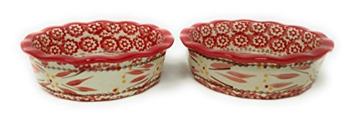 Temp-tations Set of 2 Mini Pie Pans, Deep Dish 5.75'' x 1.75'' each - Stoneware (Old World Red) by Temptations (Image #1)'